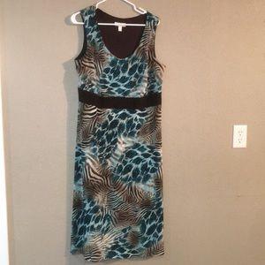 Brown Blue White Dress Barn Size 16 Maxi Dress